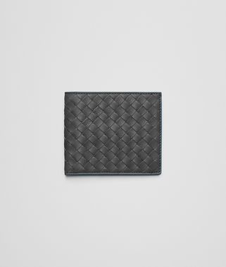 BI-FOLD WALLET IN NEW LIGHT GREY PEACOCK INTRECCIATO CALF