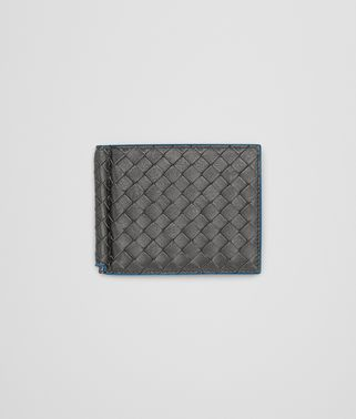 BI-FOLD WALLET WITH MONEY CLIP IN NEW LIGHT GREY PEACOCK INTRECCIATO CALF
