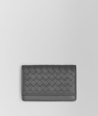 LIGHT GRAY INTRECCIATO NAPPA CARD CASE