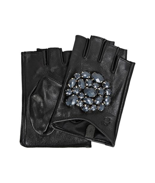 KARL LAGERFELD K/GEO STONES FINGERLESS GLOVES  12_f