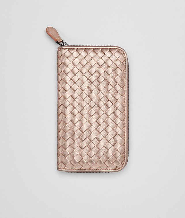 BOTTEGA VENETA ZIP AROUND WALLET IN ROSE GOLD INTRECCIATO GROS GRAIN Large  Wallet     c23430002ee3d