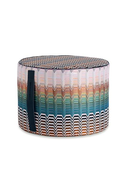MISSONI HOME SANTAFE'_PW CYLINDER POUF Sky blue E - Back