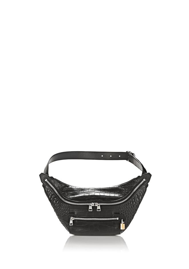 ALEXANDER WANG Shoulder bags Women PADLOCK FANNYPACK IN CROC EMBOSSED BLACK