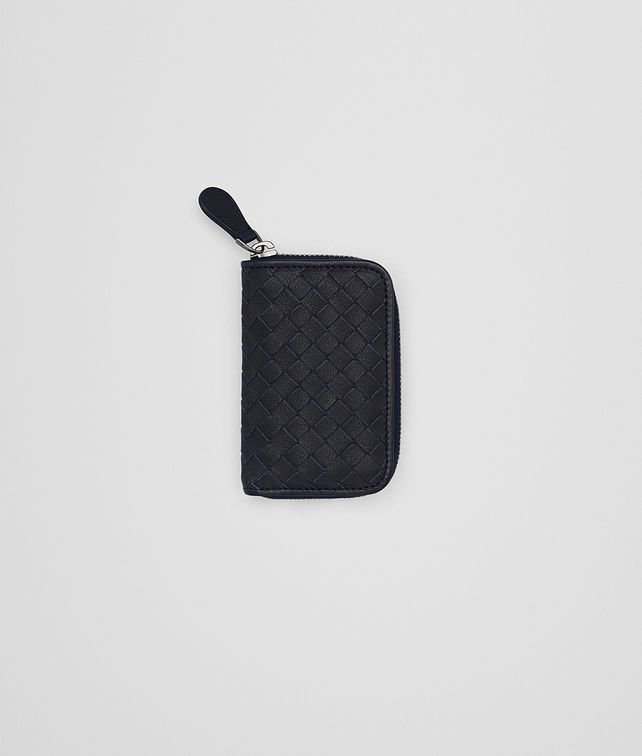 BOTTEGA VENETA COIN PURSE IN NEW DARK NAVY PACIFIC INTRECCIATO CALF Card Case or Coin Purse Man fp