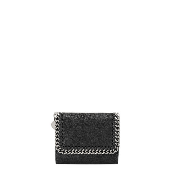 Black Falabella Small Flap Wallet