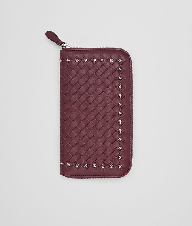 BOTTEGA VENETA ZIP AROUND WALLET IN BAROLO INTRECCIATO LAMB LEATHER WITH METAL STUDS Zip Around Wallet Woman fp