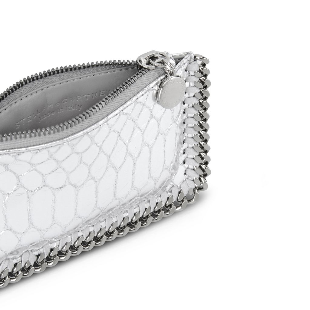 Silver Falabella Metallic Alter Snake Card Holder - STELLA MCCARTNEY
