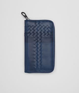 ZIP AROUND WALLET IN PACIFIC INTRECCIATO CALF WITH TARTAN DETAILS