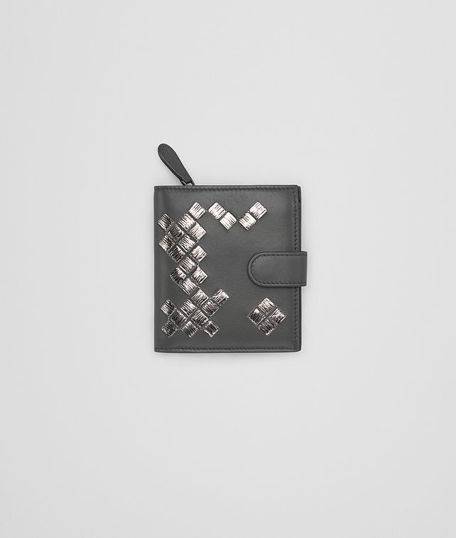 BOTTEGA VENETA MINI WALLET IN NEW LIGHT GRAY ARGENTO NAPPA WITH INTRECCIATO DETAILS Mini Wallet Woman fp