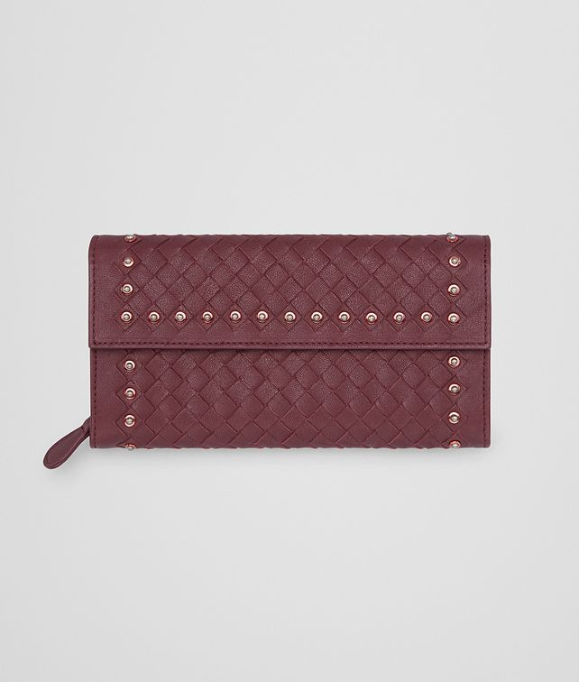 BOTTEGA VENETA CONTINENTAL WALLET IN BAROLO INTRECCIATO LAMB LEATHER WITH METAL STUDS Continental Wallet Woman fp