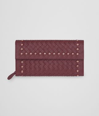 CONTINENTAL WALLET IN BAROLO INTRECCIATO LAMB LEATHER WITH METAL STUDS