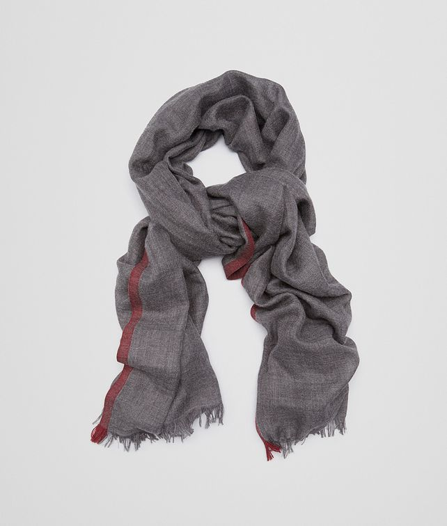 BOTTEGA VENETA SCARF IN ANTHRACITE BORDEAUX CASHMERE SILK Scarf or Hat or Glove Man fp