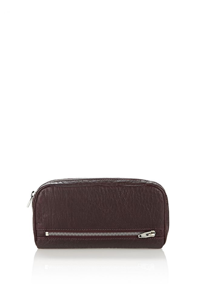 ALEXANDER WANG SMALL LEATHER GOODS Women FUMO CONTINENTAL WALLET IN PEBBLED BEET WITH RHODIUM