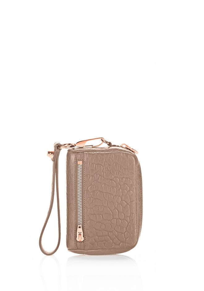 ALEXANDER WANG SMALL LEATHER GOODS Women LARGE FUMO IN PEBBLED LATTE WITH ROSE GOLD