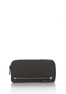 FUMO CONTINENTAL WALLET IN PEBBLED BLACK WITH PALE GOLD