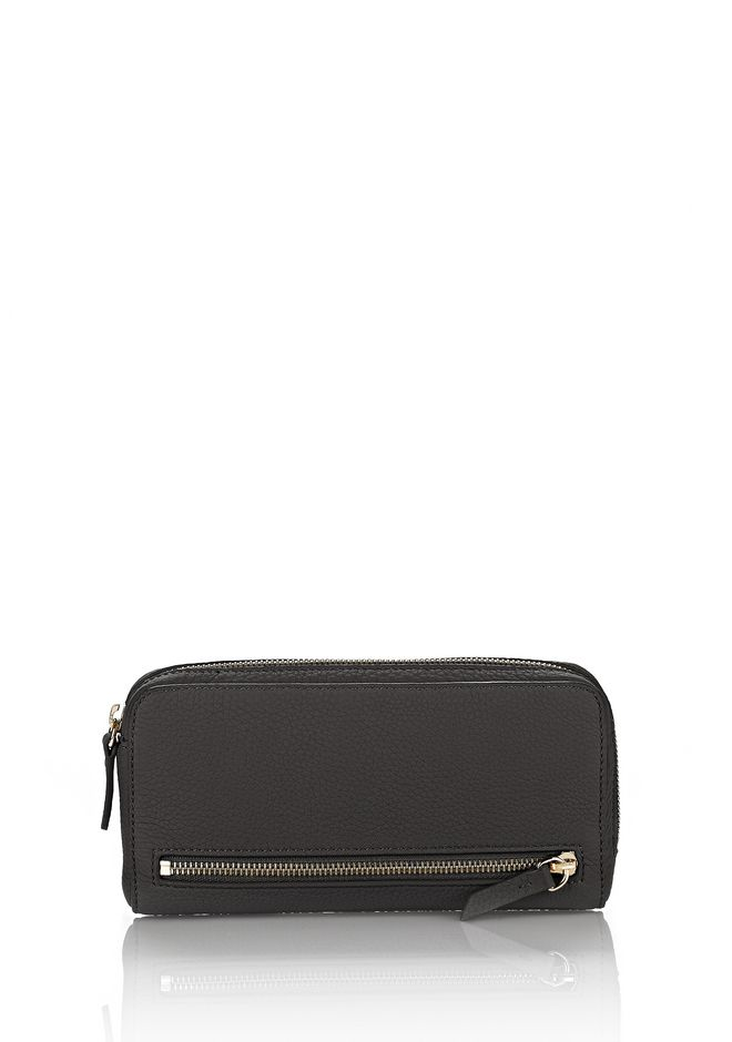 ALEXANDER WANG SMALL LEATHER GOODS Women FUMO CONTINENTAL WALLET IN PEBBLED BLACK WITH PALE GOLD