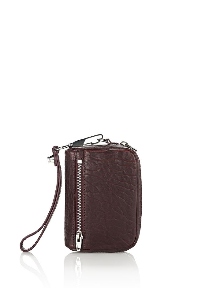 ALEXANDER WANG SMALL LEATHER GOODS Women LARGE FUMO IN PEBBLED BEET WITH RHODIUM