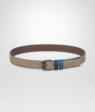 BELT IN ASH SUEDE WITH DETAILS IN PACIFIC CAIMAN