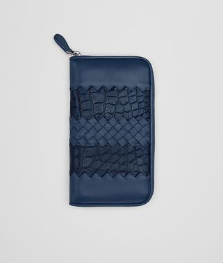 ZIP AROUND WALLET IN PACIFIC NAPPA LEATHER AND CROCODILE, INTRECCIATO DETAILS
