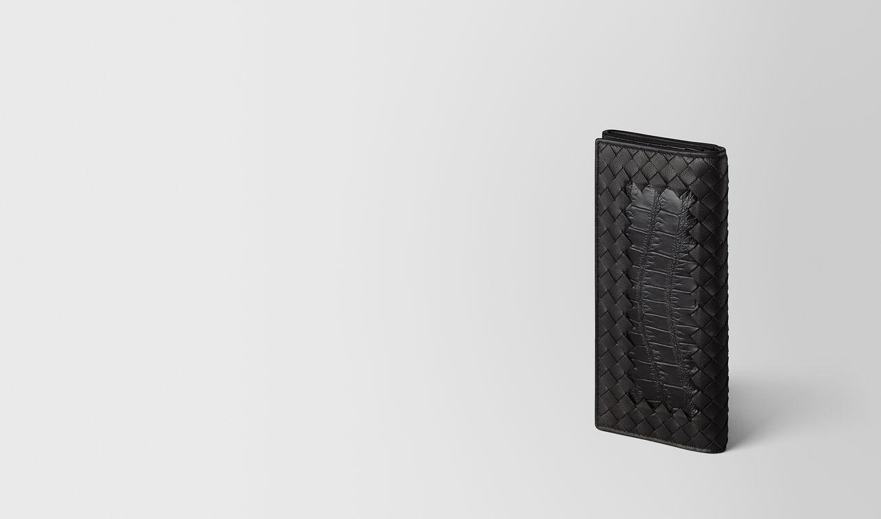 nero intrecciato nappa/crocodile continental wallet landing