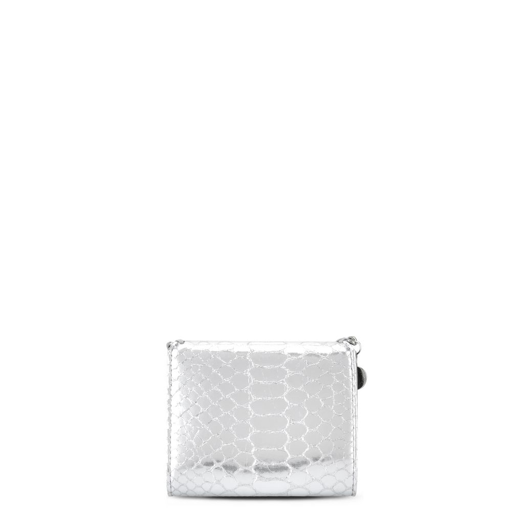 Silver Falabella Metallic Alter Snake Small Flap Wallet  - STELLA MCCARTNEY