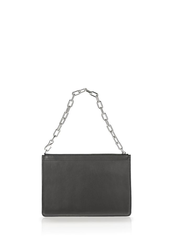 ALEXANDER WANG slgsccwp LARGE ATTICA CHAIN FLAT POUCH IN BLACK WITH RHODIUM