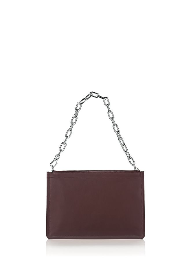ALEXANDER WANG accessories LARGE ATTICA CHAIN FLAT POUCH IN BEET WITH RHODIUM