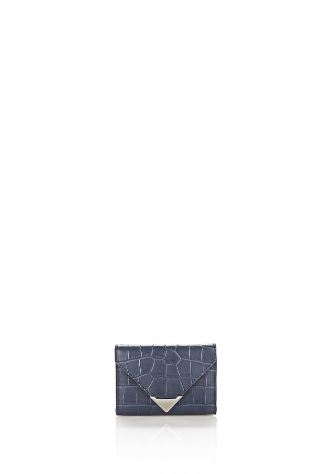 ALEXANDER WANG SMALL LEATHER GOODS Women PRISMA ENVELOPE COMPACT IN MATTE EMBOSSED CROC STONE