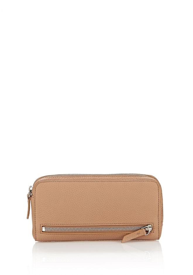 ALEXANDER WANG accessories FUMO CONTINENTAL WALLET IN MATTE TRUFFLE WITH RHODIUM