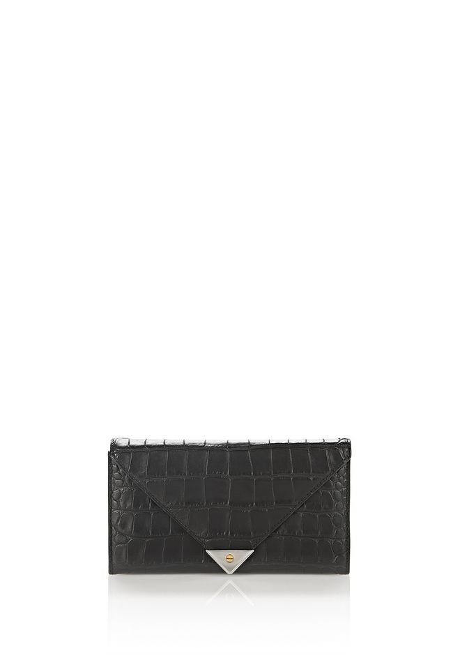 ALEXANDER WANG exclusives EXCLUSIVE CROC EMBOSSED PRISMA ENVELOPE CONTINENTAL WALLET