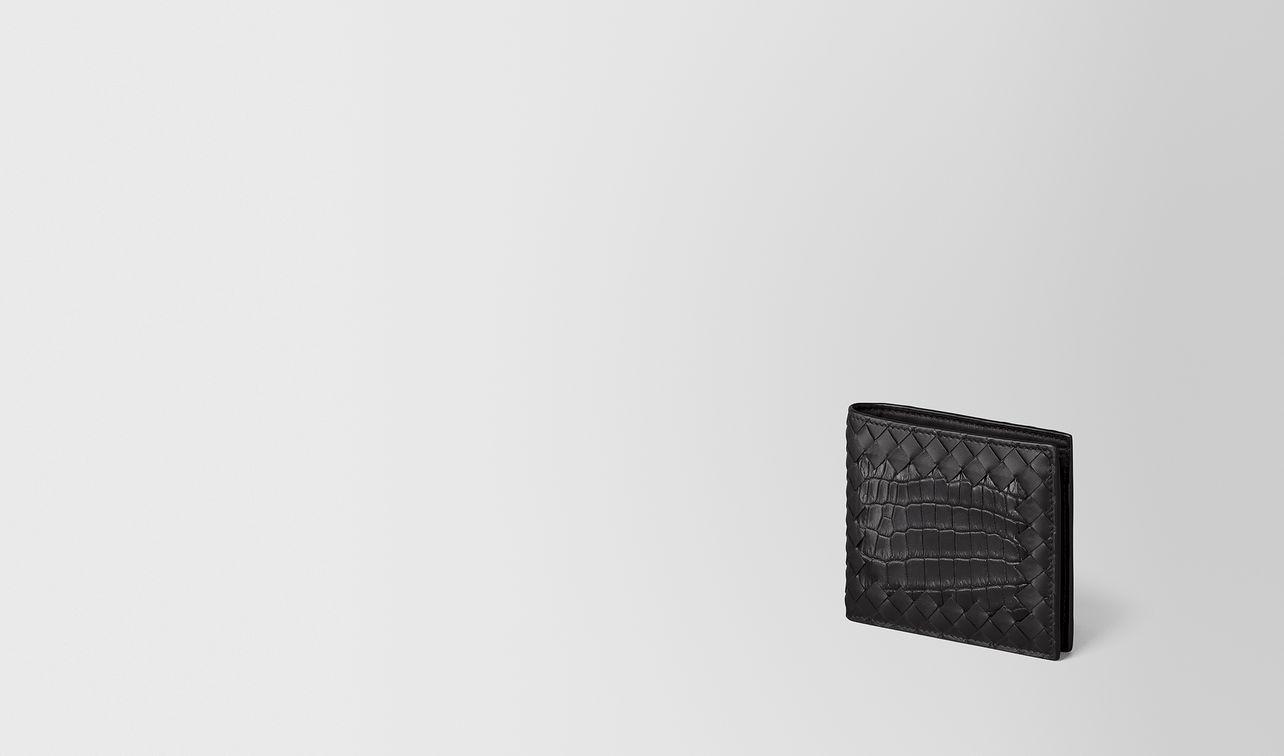 portemonnaie aus intrecciato nappa in nero/krokodilleder landing