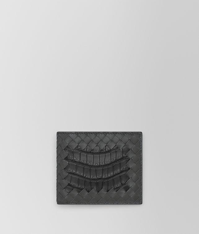 BOTTEGA VENETA BI-FOLD WALLET IN NEW LIGHT GREY CROCODILE AND INTRECCIATO NAPPA LEATHER Bi-fold Wallet U fp