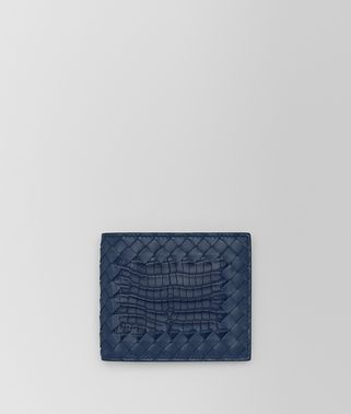 BI-FOLD WALLET IN PACIFIC CROCODILE AND INTRECCIATO NAPPA LEATHER