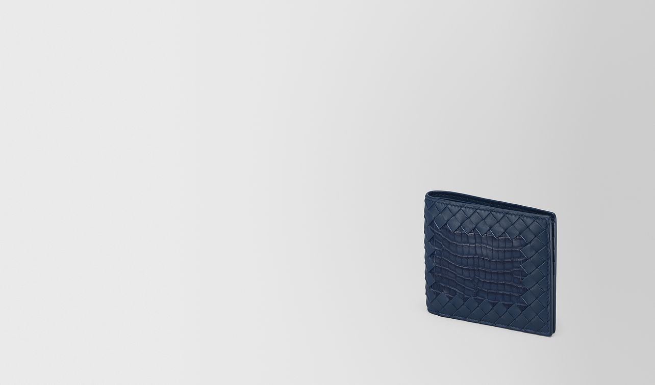 bi-fold wallet in pacific crocodile and intrecciato nappa leather landing