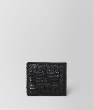 BI-FOLD WALLET IN NERO CROCODILE AND INTRECCIATO NAPPA LEATHER
