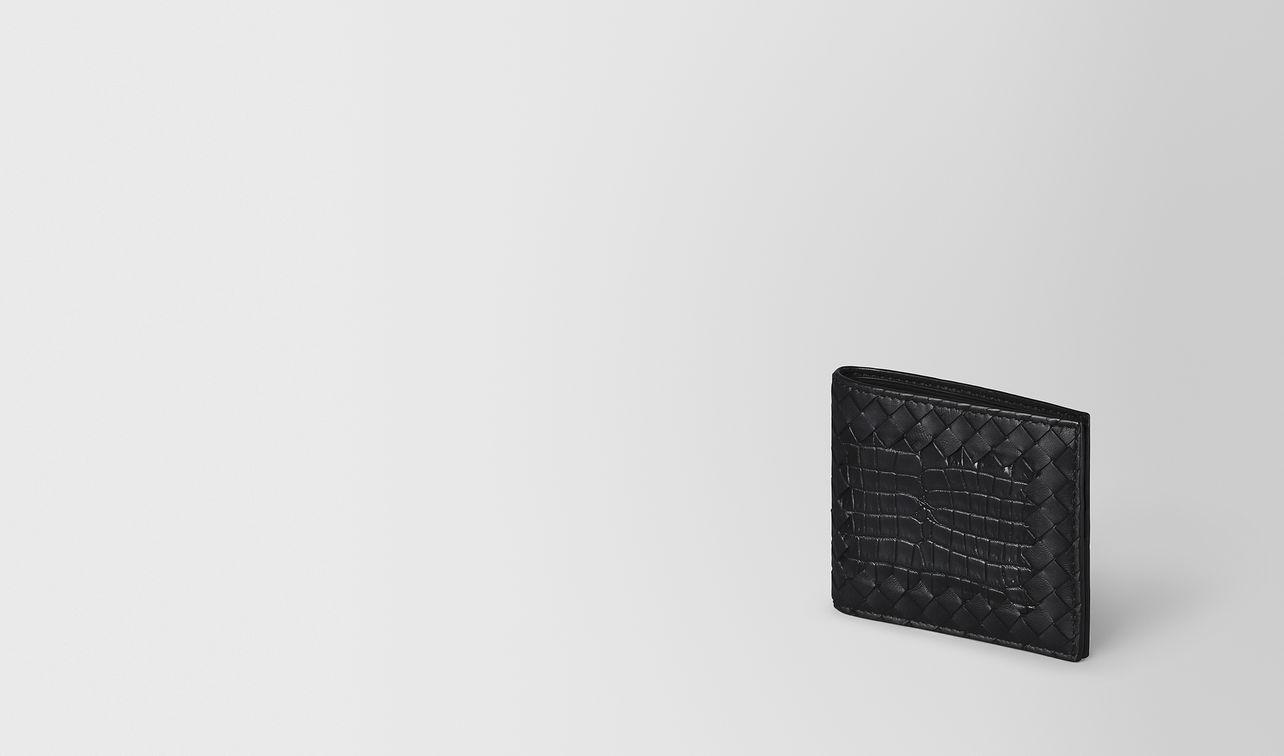 portemonnaie aus krokodilleder und intrecciato nappa in nero landing