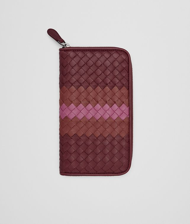 ZIP AROUND WALLET IN BAROLO BRICK PEONY INTRECCIATO NAPPA CLUB LEATHER