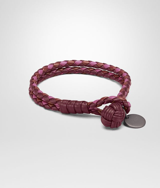 BOTTEGA VENETA BRACELET IN BAROLO BRICK PEONY INTRECCIATO NAPPA CLUB LEATHER Keyring or Bracelets E fp