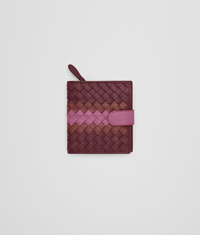 BOTTEGA VENETA MINI WALLET IN BAROLO BRICK PEONY INTRECCIATO NAPPA CLUB LEATHER Mini Wallet or Coin Purse D fp