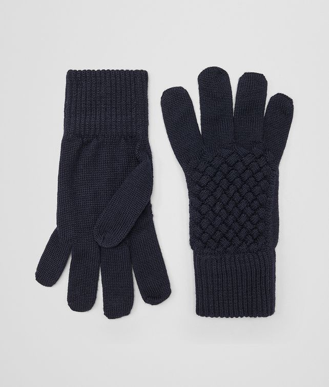 BOTTEGA VENETA GLOVES IN ASPHALT BLUE WOOL  Hat or gloves Man fp