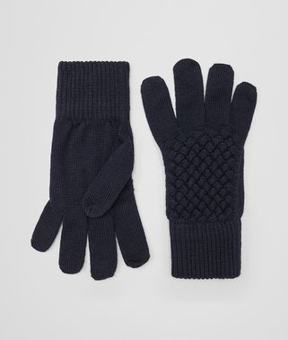 GLOVES IN ASPHALT BLUE WOOL