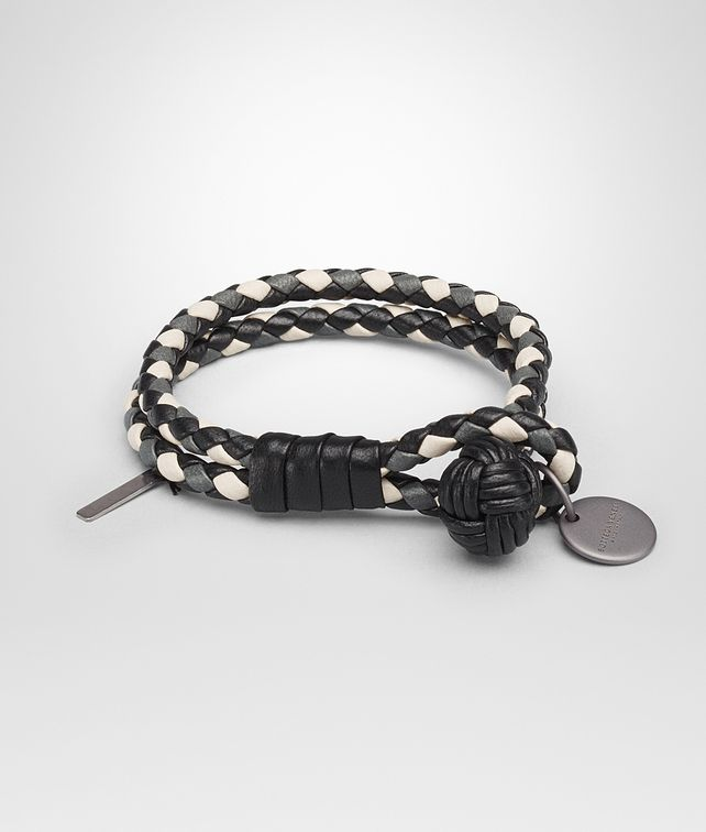 BOTTEGA VENETA BRACELET IN NERO NEW LIGHT GREY MIST INTRECCIATO NAPPA CLUB LEATHER Keyring or Bracelets E fp
