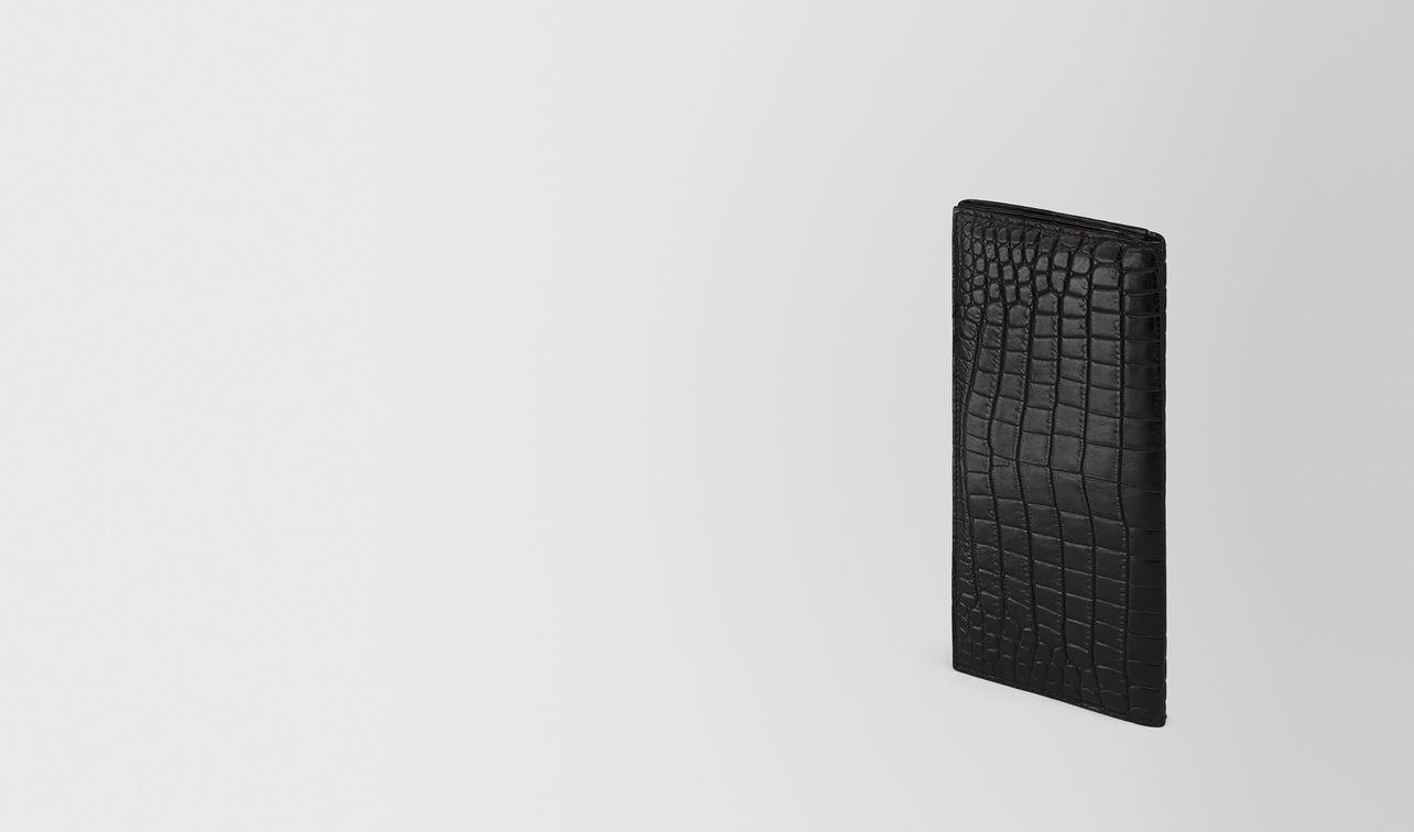 continental portemonnaie aus weichem krokodilleder in nero landing