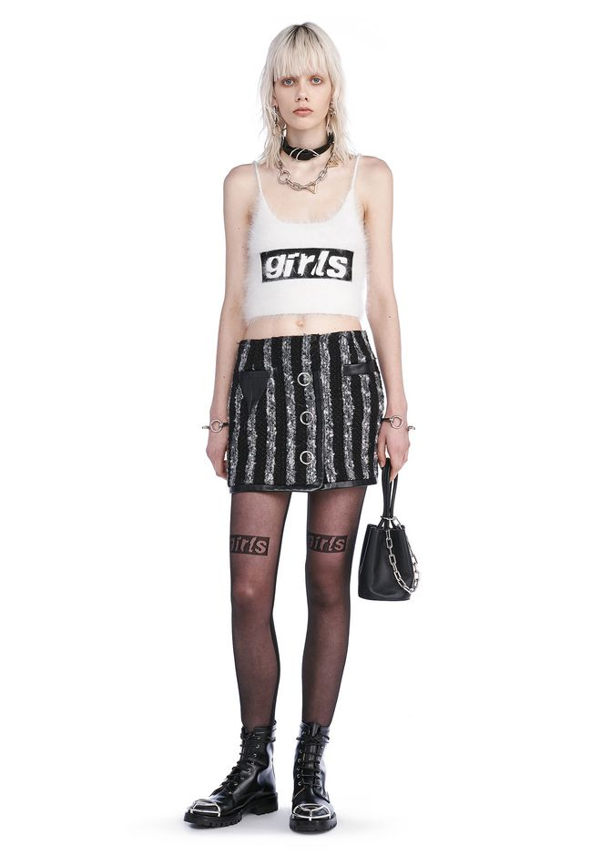 ALEXANDER WANG TOPS CROPPED TANK TOP WITH GIRLS EMBROIDERY