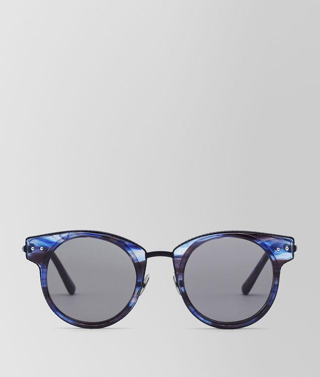 b6af54cea BOTTEGA VENETA SUNGLASSES IN BLUE ACETATE AND BLACK METAL WITH GREY LENS  Sunglasses E fp