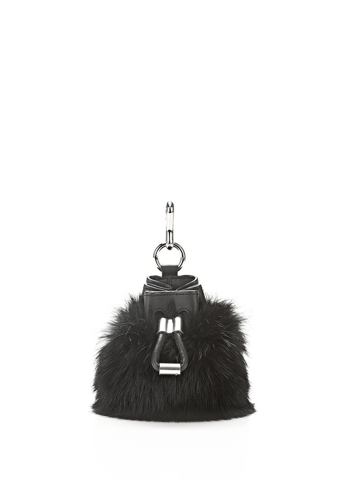 ALEXANDER WANG accessories MINI ROXY DRAWSTRING KEYCHAIN IN BLACK REX RABBIT