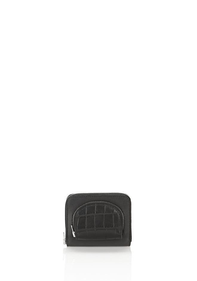 ALEXANDER WANG SMALL LEATHER GOODS Women COMPACT ZIP WALLET IN BLACK WITH CROC EMBOSSED COIN POUCH