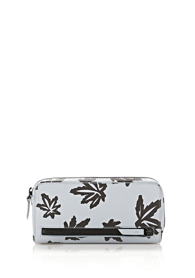 ALEXANDER WANG SMALL LEATHER GOODS Women FUMO CONTINENTAL WALLET IN LEAF PRINTED PALE BLUE