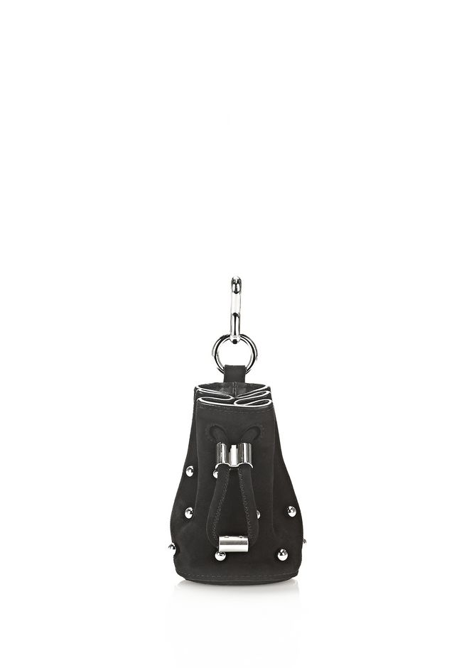 ALEXANDER WANG accessories STUDDED MINI ROXY DRAWSTRNG KEYCHAIN IN BLACK KID SUEDE