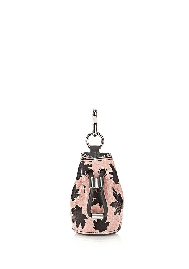ALEXANDER WANG Charms MINI ROXY DRAWSTRING KEYCHAIN IN CAMEO PINK ELAPHE